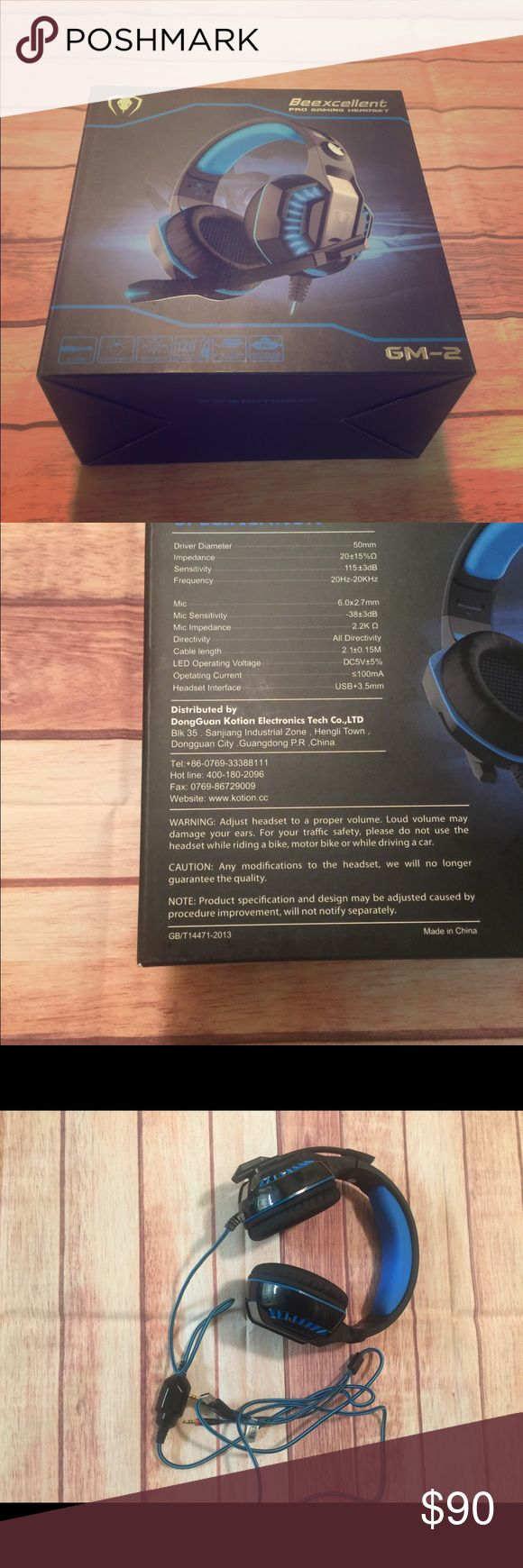 Beexcellent Pro Gaming Headset for PS4,XBOX ONE. Condition: used only wore twice Driver Diameter: 50mm Frequency: 20Hz-20Hz Mic: 6.0(2.7mm) Headset interface: USB+3.5mm- Note: any further info will be on the second picture of the gaming headset box including the mic sensitivity etc. Beexcelent Other