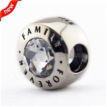 Diy adapta pulsera Pandora para la mujer joyería que hace familia siempre encantos de plata con CZ 925 plata esterlina de la joya FL15390(China (Mainland))