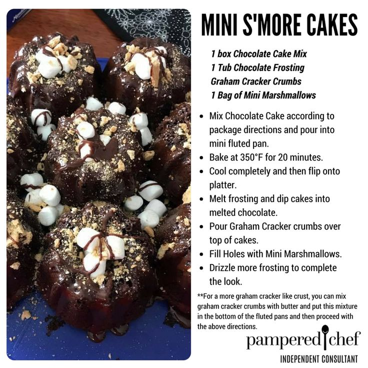 S Mores Cakes Recipe Mini Fluted Pan Pampered Chef
