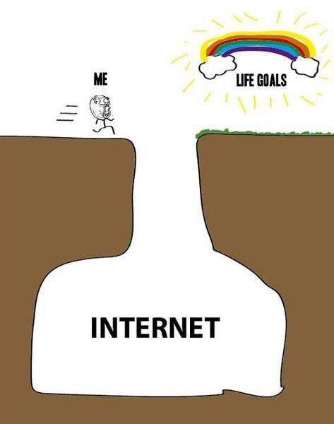 Stick figure running toward its life goals, just about to drop into the pit of the internet.
