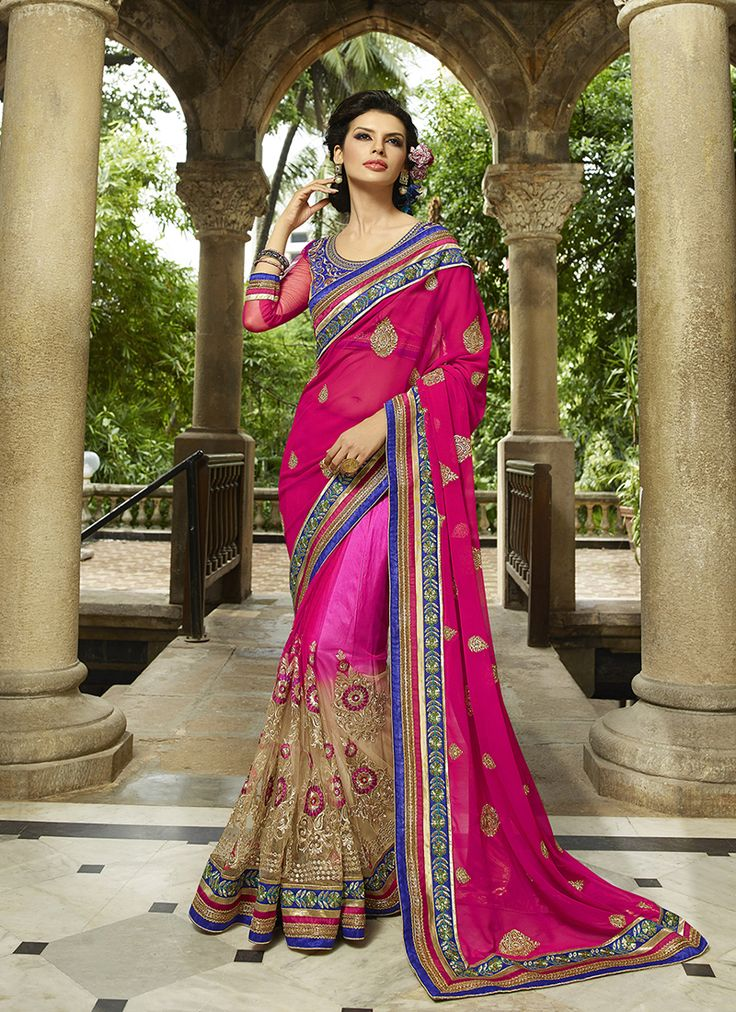 #Beige & #Pink Colour #Net & #Georgette #Saree. Lovely #floral #embroidery and #exotic #colours come together to define this #beautiful #saree.  Contact to Buy : +91-9377111620