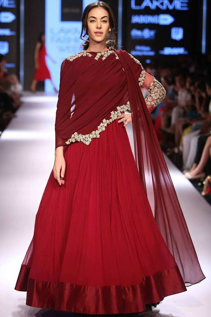 Maroon sequins and bead embroidered drape anarkali kurta available only at Pernia's Pop Up Shop.#lakmefashionweek #ridhimehra #ramp #clothing #designer