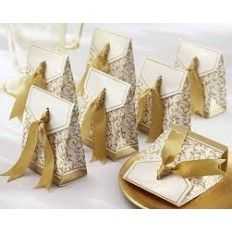 Favour Box with Ribbon- Gold