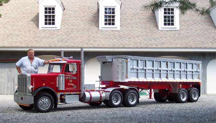 mini peterbilt pose in front of his home with the completed peterbilt and trailer. Black Bedroom Furniture Sets. Home Design Ideas