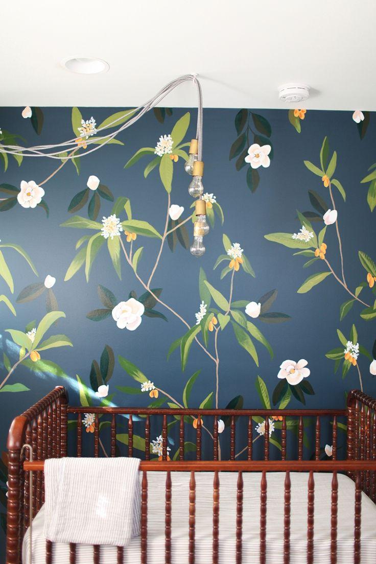 navy accent wall, girl nursery, sophisticated nursery, navy wall nursery, magnolia nursery, magnolia kumquat nursery, nursery reveal, navy grace's nursery reveal