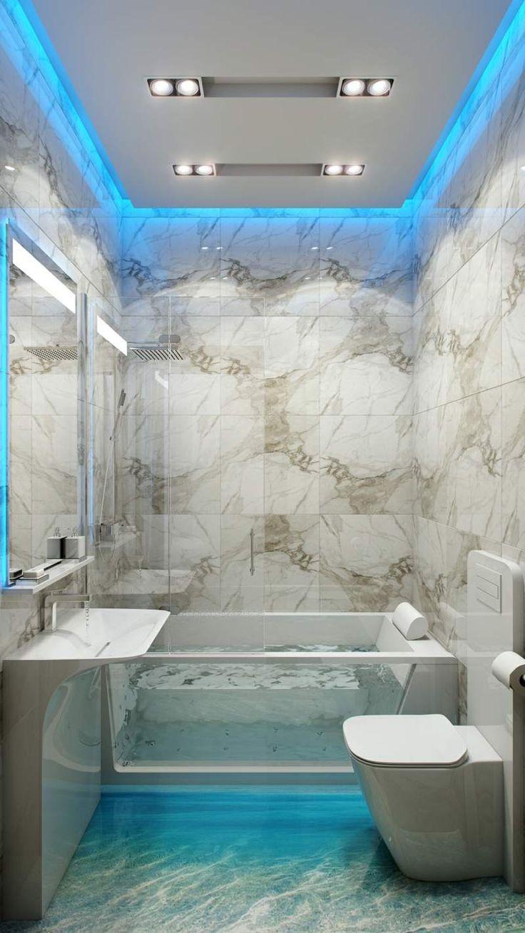 Bad In Weissem Marmor Und Mit Indirekter Beleuchtung In Blau Badezimmerideen Badezimmer Design Kleine Badezimmer