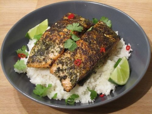 Jamie Oliver's 15 Minute Meal: Green tea salmon with coconut rice - Marry me jamie