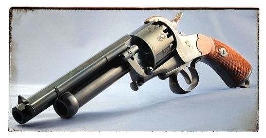 Rare LeMat revolver. Favorite of Confederates during the Civil War.  The Large barrel was a shotgun blast and the pistol rounds were a new thing.To combine together made an awesome weapon.