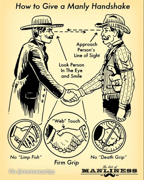 Following up on our talk on handshake, here is an excellent visual aid for a proper handshake. Mustache optional.  By The Manliness #mensweartips