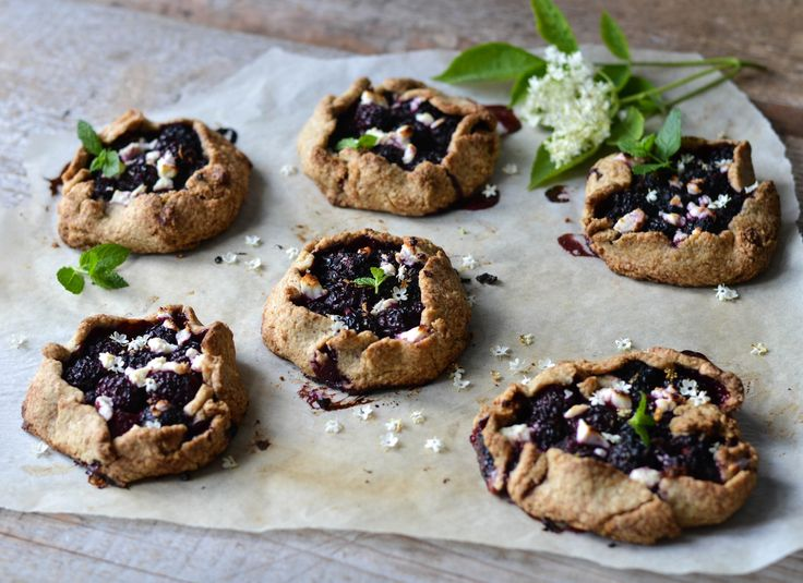 Portion sized galettes with blackberry and feta cheese