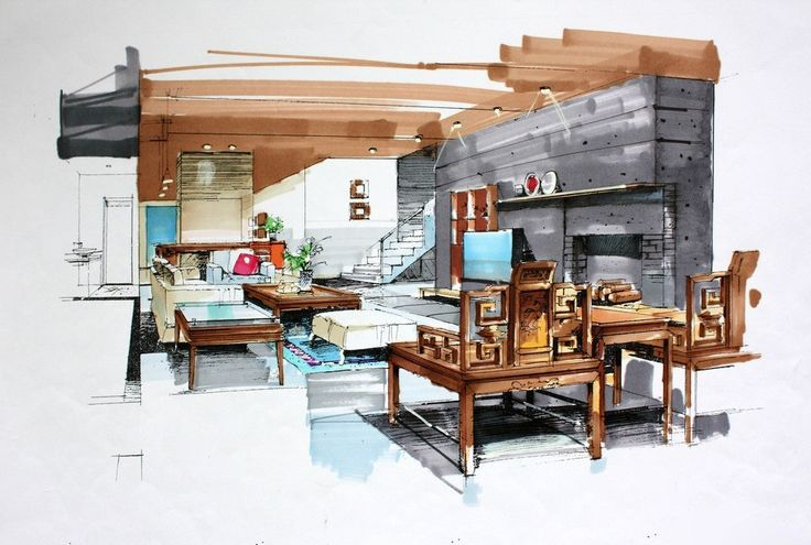 Interior Sketch Living Room Marker Rendering Perspective