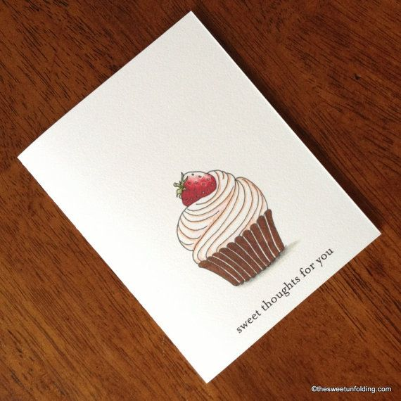 Sweet Thoughts Strawberry Cupcake Card