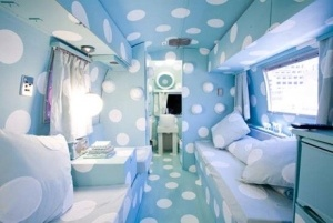 wild dreamlandBlue Interiors, Polka Dots, Trailers Parks, Airstream Interiors, Travel Trailers, Airstream Trailers, Hotels, Vintage Campers, Fairies Tales