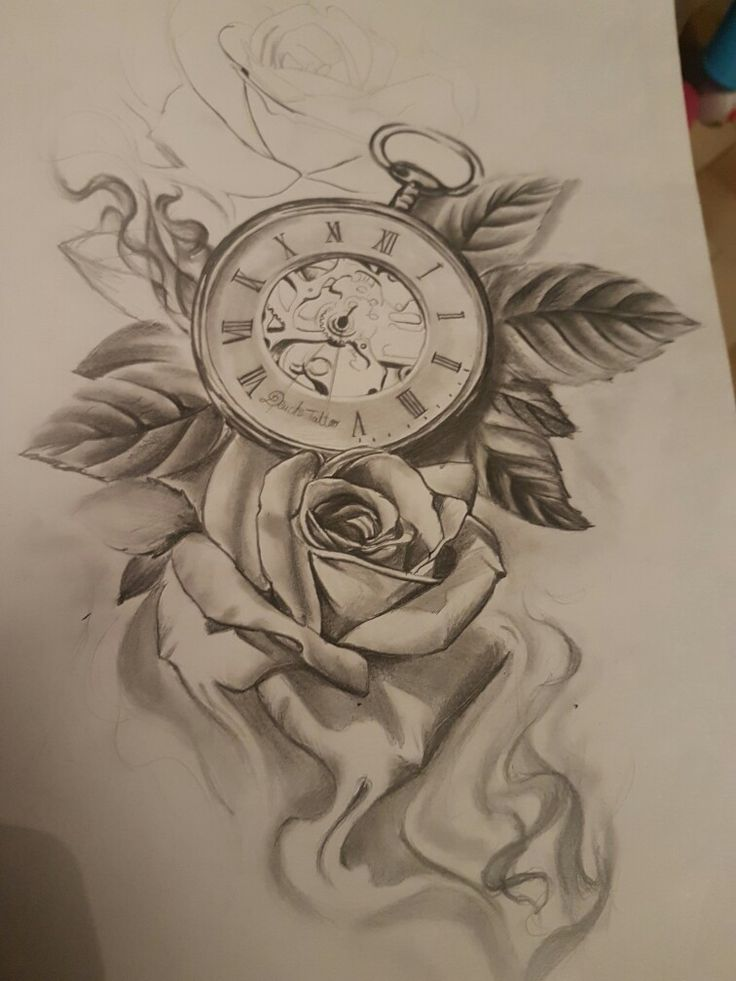20 Drawen Rose Clock Tattoos For Girls Ideas And Designs
