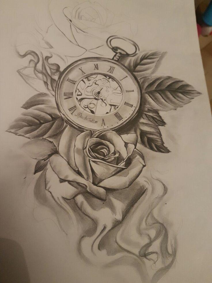 Rose Clock Tattoo Designs Drawing