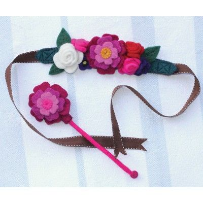 Sew Heart Felt Felt Flower Crown and Wand: English garden flower fairy crown with gorgeous felt Peonies, Rambling Roses and Viola. Vintage saddle stitch ribbons, which tie in a pretty bow at the back of your head. The fairy crown also come with a magical peony flower wand, to help make all your wishes come true!