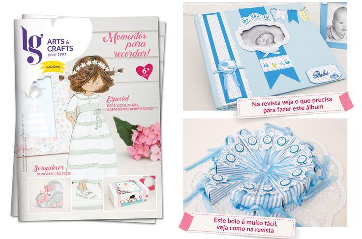 Álbum de bebé e bolo de ofertas para chá de bebé.  Na revista veja os materiais usados.
