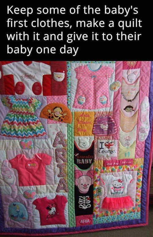 Baby Clothes Quilt Keepsake - 10 Creative Baby Keepsake Ideas on Pretty My Party