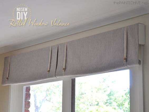 The Painted Hive:No Sew DIY Rolled Window Valance to cover a plain window roller shade