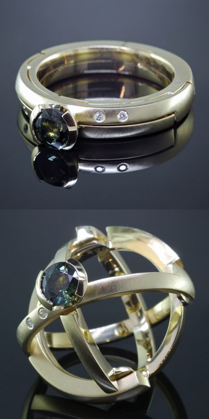 Armillary Ring by Kirk Lang, original designer. Transforms from a traditional engagement ring into an armillary sphere - www.kirklang.com: