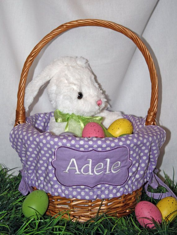 Monogrammed Easter Basket Liner by SewYouBoutique on Etsy, $24.00
