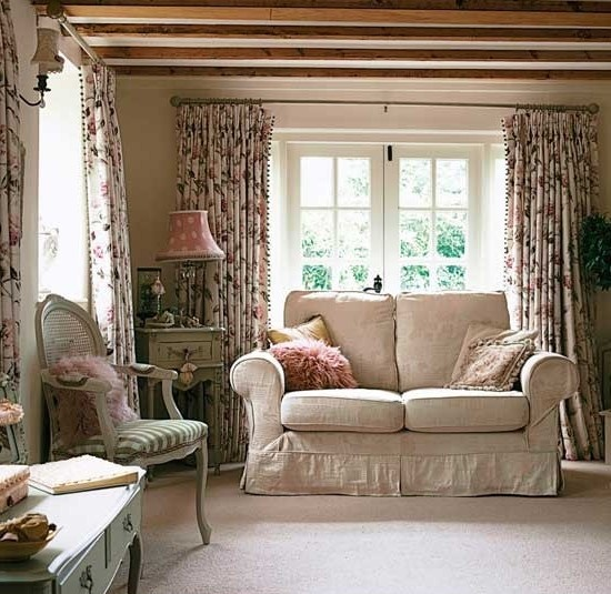 Country Cottage Decorating Ideas: Floral Decoration Living Rooms Vintage