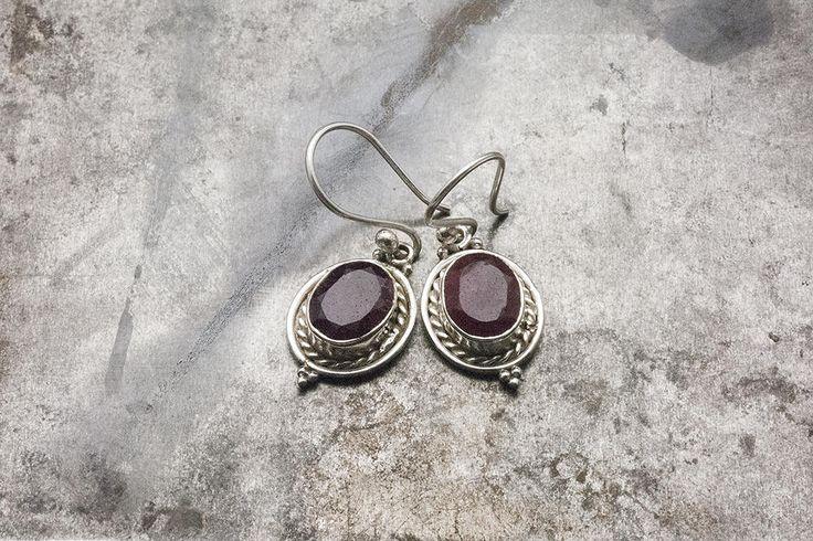 Ruby Earrings, 925 Silver Drop Red Gemstone Earrings, Natural Ruby Jewelry, Ruby Birthstone July Gift for Her, Handmade Statement Earrings