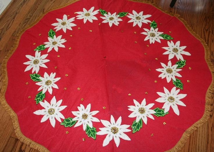 Vintage Christmas Tree Skirt ~ Red Felt with White Poinsettias, Trimmed in Gold Loop Fringe.