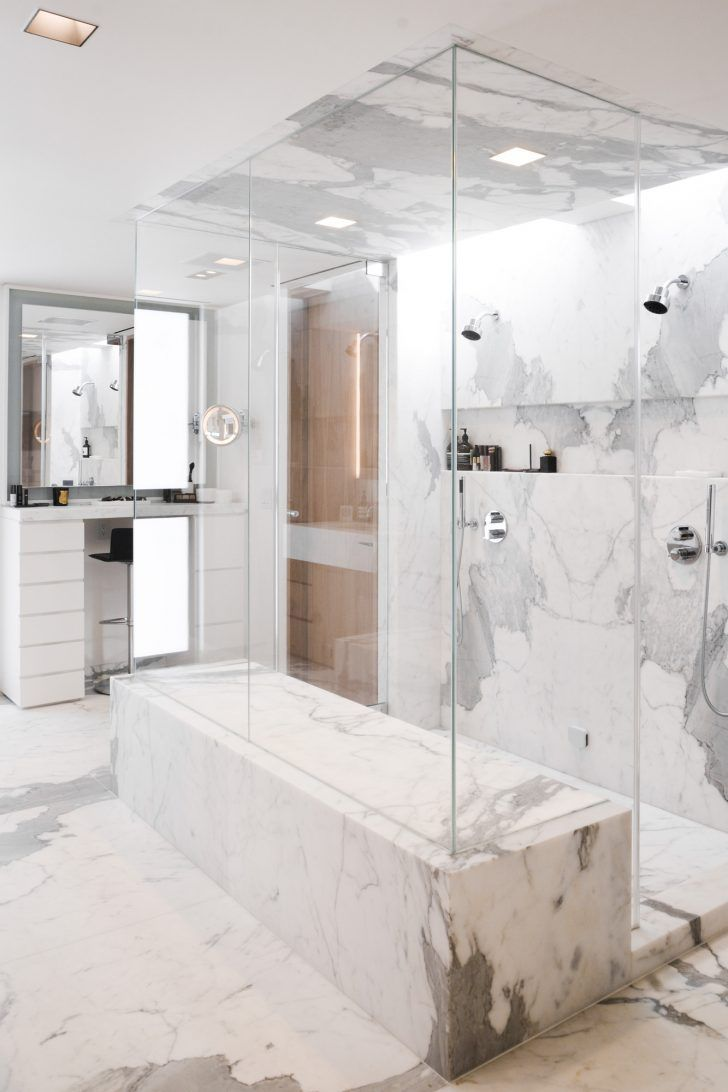 Inside Hourglass Founder Carisa Janes Home: White Marble and Glass Bathroom | coveteur.com