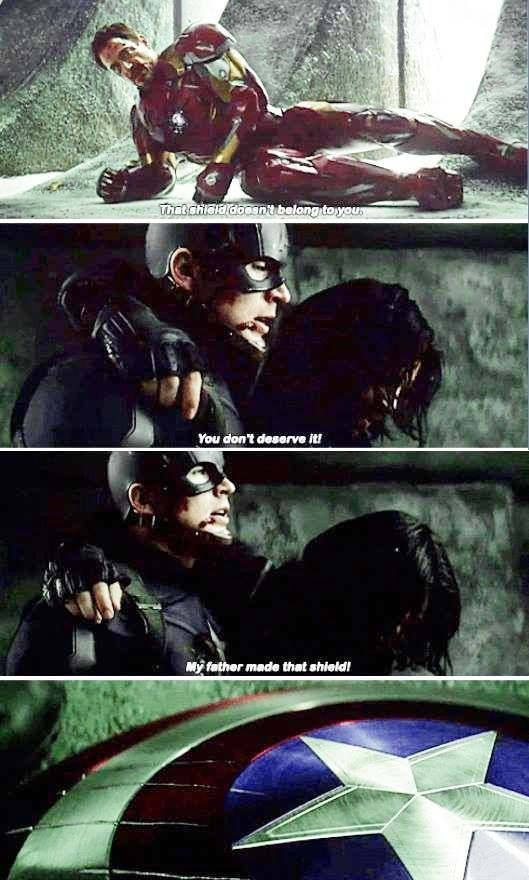 This scene is so powerful. Tony's on the verge of tears. Steve gives up his shield without a second thought to save Bucky. Bucky is without his arm. There's so much symbolism here: without his arm, Bucky is no longer the Winter Soldier. By giving up his shield, Steve quits being Captain America. Tony's arc reactor and suit is destroyed, leaving the broken man who was always hidden beneath now exposed. This isn't a scene with superheroes; it's now just three men shattered by their…