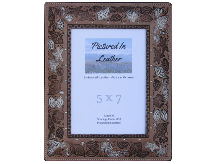 Seashell leather picture frame, 5x7 leather photo frame, 5x7 picture frame, shell frame, beach picture frame, leather goods, leather gifts