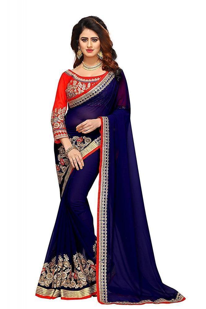 239f74b0df Indian Design Fashion Women's Georgette Saree Party Bridal Wear Saree  #SunshineFashion #Beauty