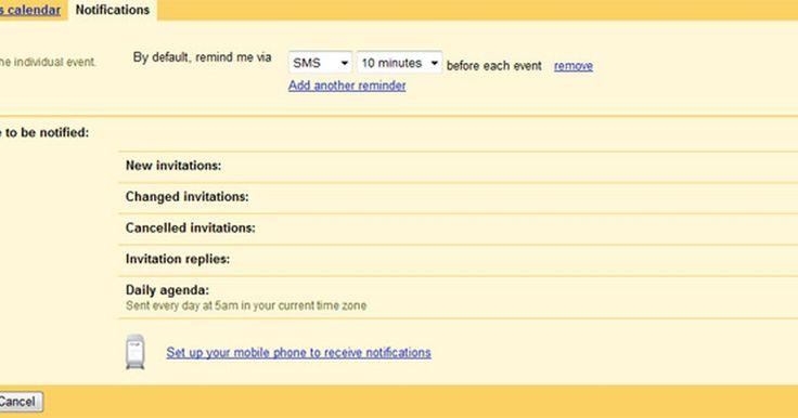 Cómo configurar el calendario de Gmail con recordatorios de citas de mensaje de texto. La línea de productos de Gmail de Google es una de la más populares y rica en funciones basadas en Internet. La función del calendario permite a padres ocupados, estudiantes y profesionales realizar un seguimiento de sus citas de manera eficiente. Para aquellos que necesitan un método de recordatorio por teléfono móvil, el calendario de Google ...