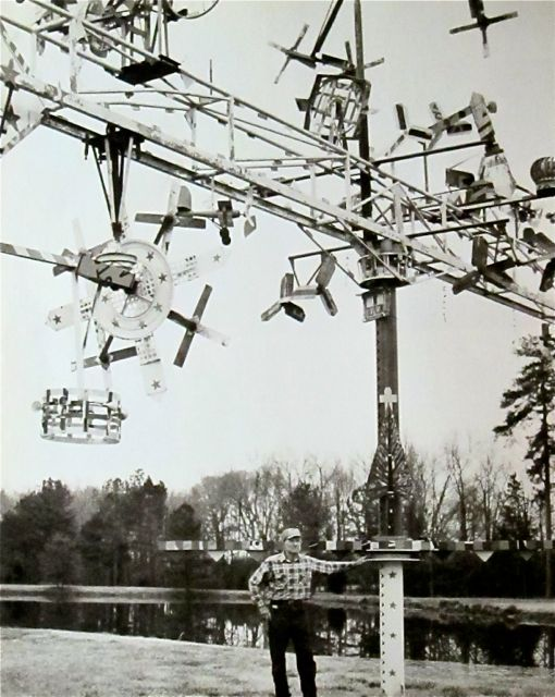 Creator Vollis Simpson (b.1919) standing next to one of his whirligigs (wind machines) in front of his house in Wilson, North Carolina. Photo from 1988. via Mondo-bloggo. Check out The Vollis Simpson Whirligig Park Project (wilsonwhirligigpark.org) opening in 2013!