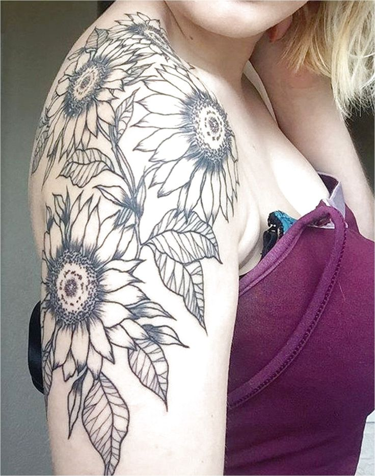 Full Arm Sleeve Sunflower Floral Tattoo Ideas On Shoulder