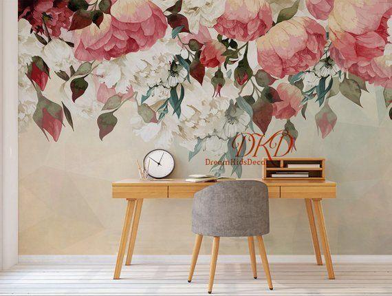 Large Peony Flowers Mural Self Adhesive Wallcoverings Vintage