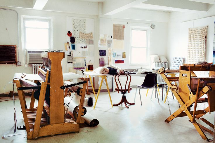 "Weaver and textile artist <a href=""http://www.dwell.com/people/hiroko-takeda"">Hiroko Takeda</a> keeps a studio on the ninth floor of an old industrial building in downtown <a href=""http://www.dwell.com/travel/brooklyn-new-york"">Brooklyn</a>, where she works on various client commissions and her own one-off art projects."