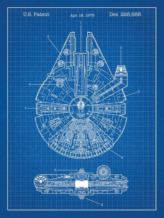 Millenium Falcon Star Wars Patent 18x24 screen by InkedandScreened