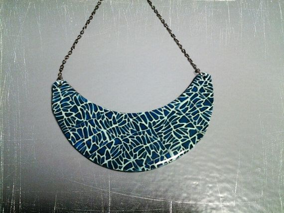necklace polymer clay and resin blue original by PolySanAntoni, €7.00