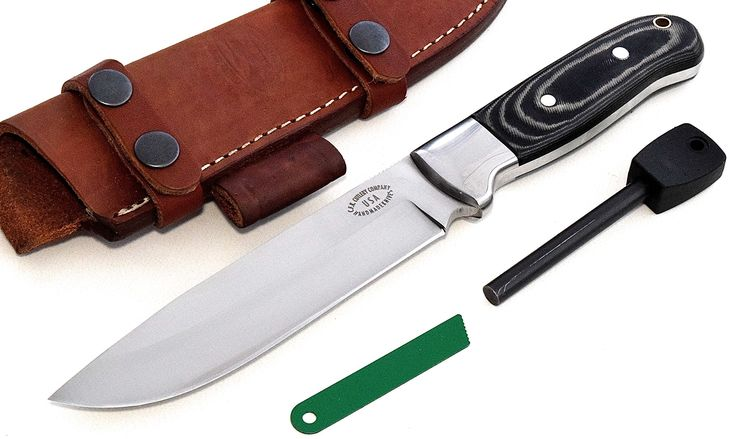 "CFK Cutlery Company USA Custom Handmade D2 Tool Steel Micarta Bushcraft Camp Hunter Skinning Knife Horizontal-Vertical Leather Sheath & Fire Starter Rod Set CFK65. KNIFE SPECS: 10 3/4"" OVERALL, 5 7/8"" BLADE, 5 8/8"" CUTTING EDGE, 1 1/4"" BLADE WIDTH, 1/4"" BLADE THICKNESS, 90 DEGREE SPINE, 4 7/8"" LONG HANDLE, 12 OUNCES. Handmade D2 Tool Steel Full Tang Hollow Grind Blade - Vacuum Hardened 59-60HRC - Balanced and Sharp!. Black & Tan Camo-Linen Micarta Handles - Stainless Bolsters - Aluminum…"