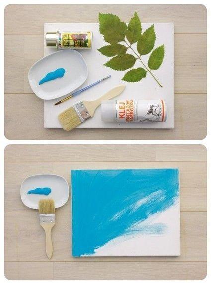 1. Отпечаток растений (цветной фон, набрызг)