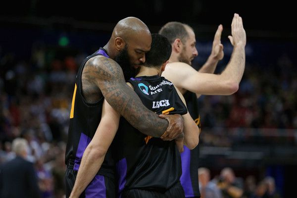 Kevin Lisch of the Kings is congratulated by Josh Powell during the round five NBL match between the Sydney Kings and the Cairns Taipans at Qudos Bank Arena on November 7, 2016 in Sydney, Australia.