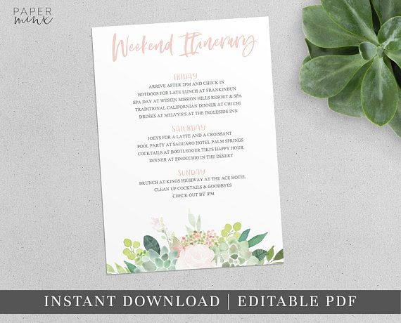 Printable Succulent Weekend Itinerary Itinerary Template