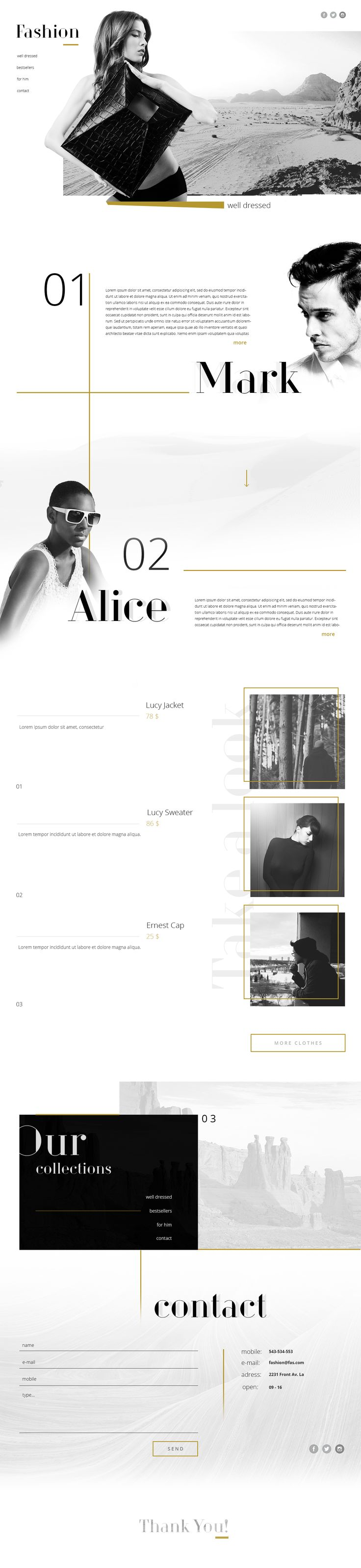 "Web design inspiration UI/UX user experience fashion concept  @Behance: ""Fashion Portfolio Website"" https://www.behance.net/gallery/47444829/Fashion-Portfolio-Website"