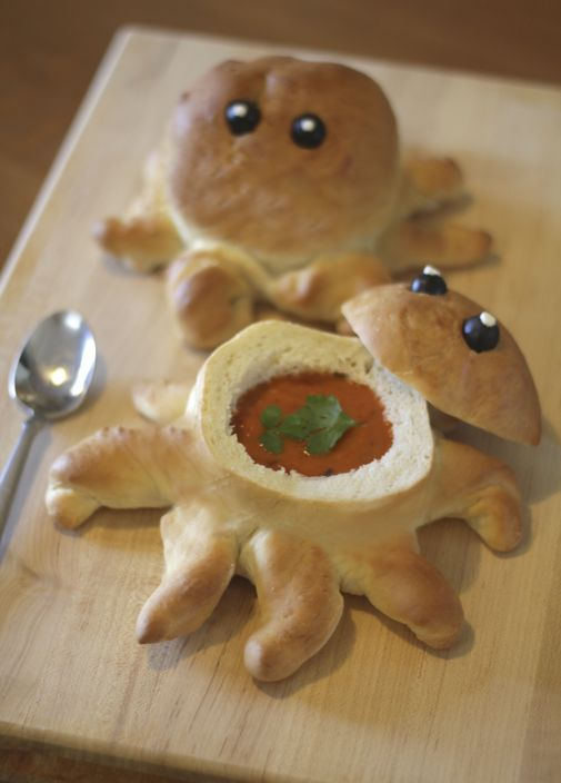 Soup's on! Penguin and octopus bread bowls