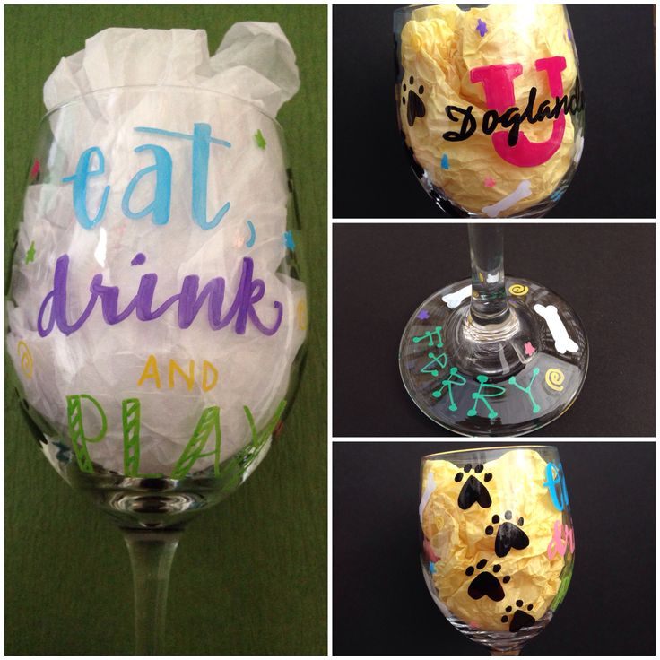 Eat Drink And Play Wine Glasses For The Dog Lover