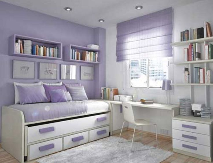 idea for girl with soft purplewhite wall paint color and trundle bed and simple study desk and shelving unit also wall bookshelves and white shag rug