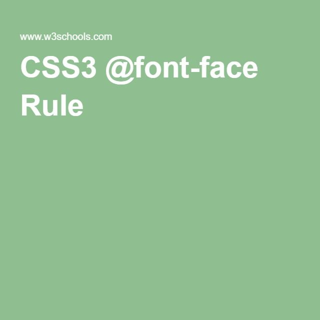 CSS3 @font-face Rule