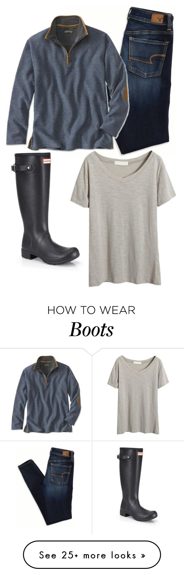 """❤️ Hunter boots!"" by camlinker on Polyvore featuring Hunter and American Eagle Outfitters"