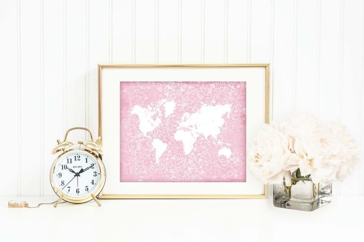 World map silhouette in white on a slightly distressed Victorian style pink floral background. A great choice for a cottage chic nursery, home, office or to give as a gift.  You are purchasing a digital file only, no physical product will be shipped. Instant downloads are awesome if you want to print them at home or have them professionally printed at your own convenience. Just download the files and print as many times as you want to.  4 JPEG files are included: - 5 x 7 inches - 8 x 10…
